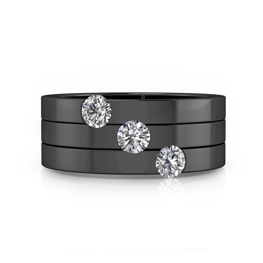 Anillo de compromiso 3 diamantes en diagonal oro negro