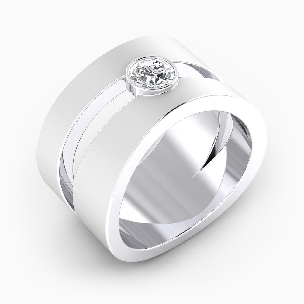 foto de perfil de alianza de compromiso de oro blanco y 1 diamante