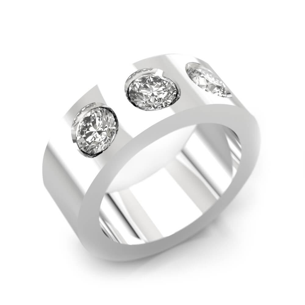 Engagement Rings 18k white gold 3 brilliant cut diamond