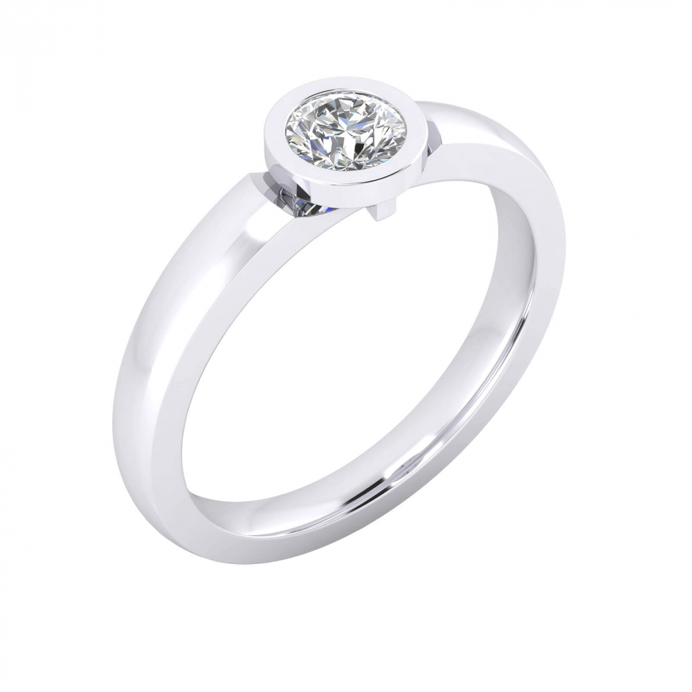 Engagement Rings white gold with a brilliant-cut diamond