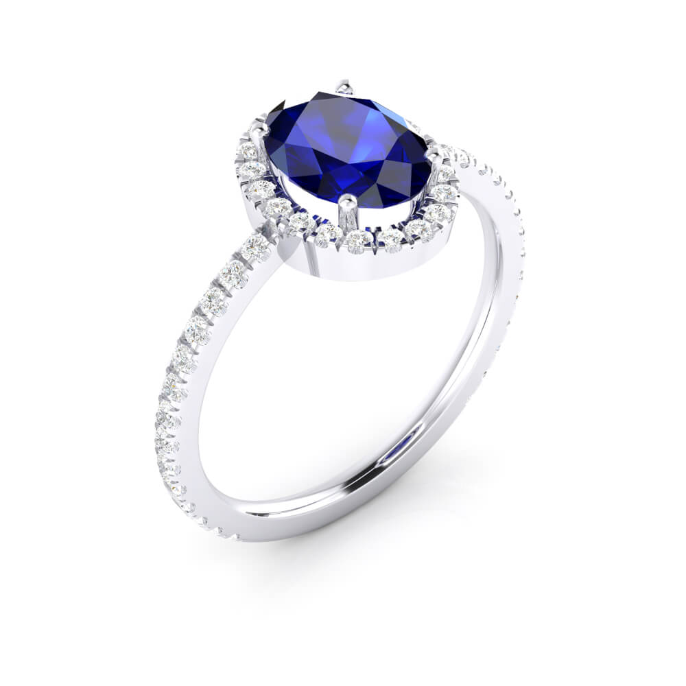 Halo diamond engagement ring with sapphire