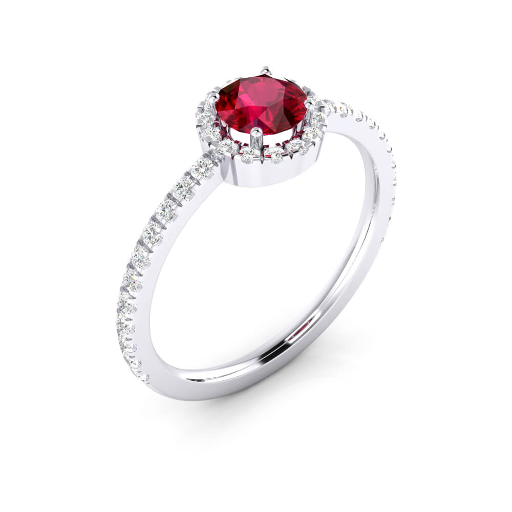 Halo diamond engagement ring with ruby