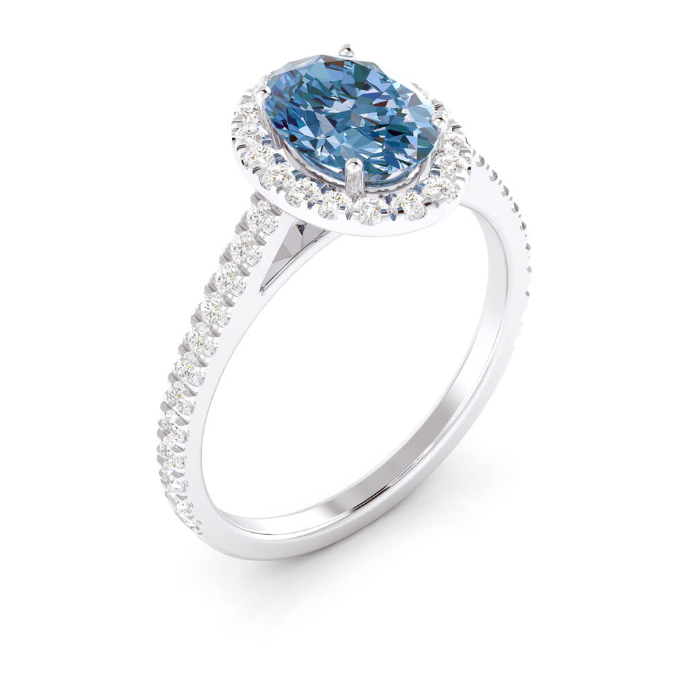 Engagement ring with topaz and diamonds