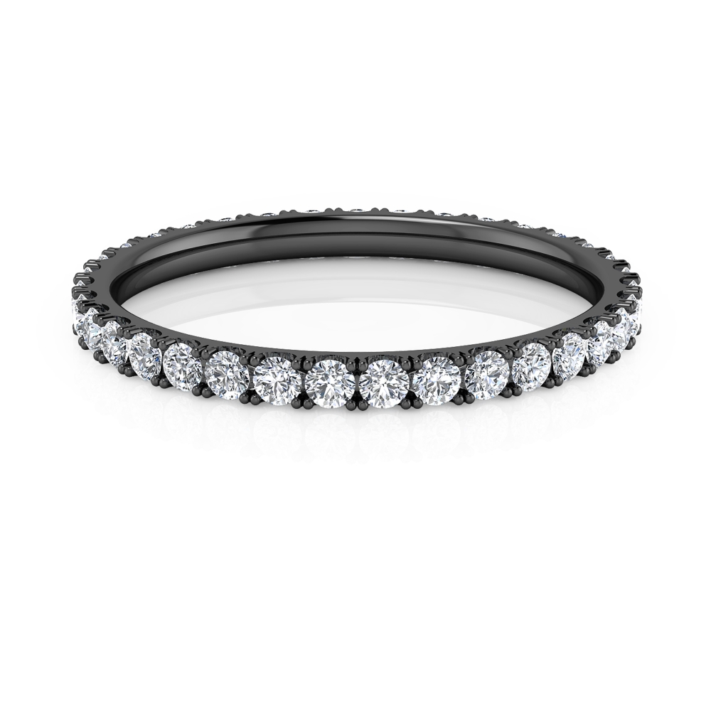 Engagement ring | black gold | 42 brilliant-cut diamonds