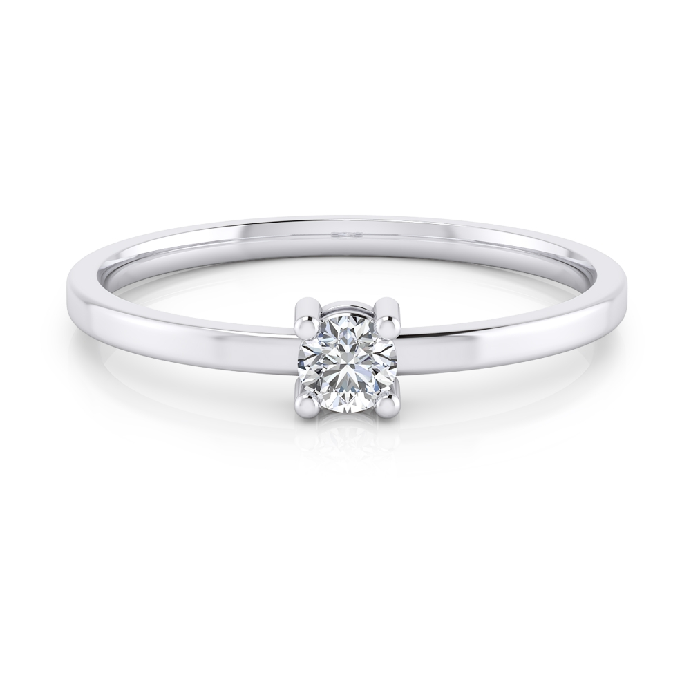 18kt white gold solitaire ring with a round cut shape diamond, stylized arms and glossy finish.
