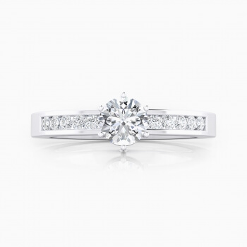 White gold engagement ring, with 10 diamonds and a round cut shape diamond.