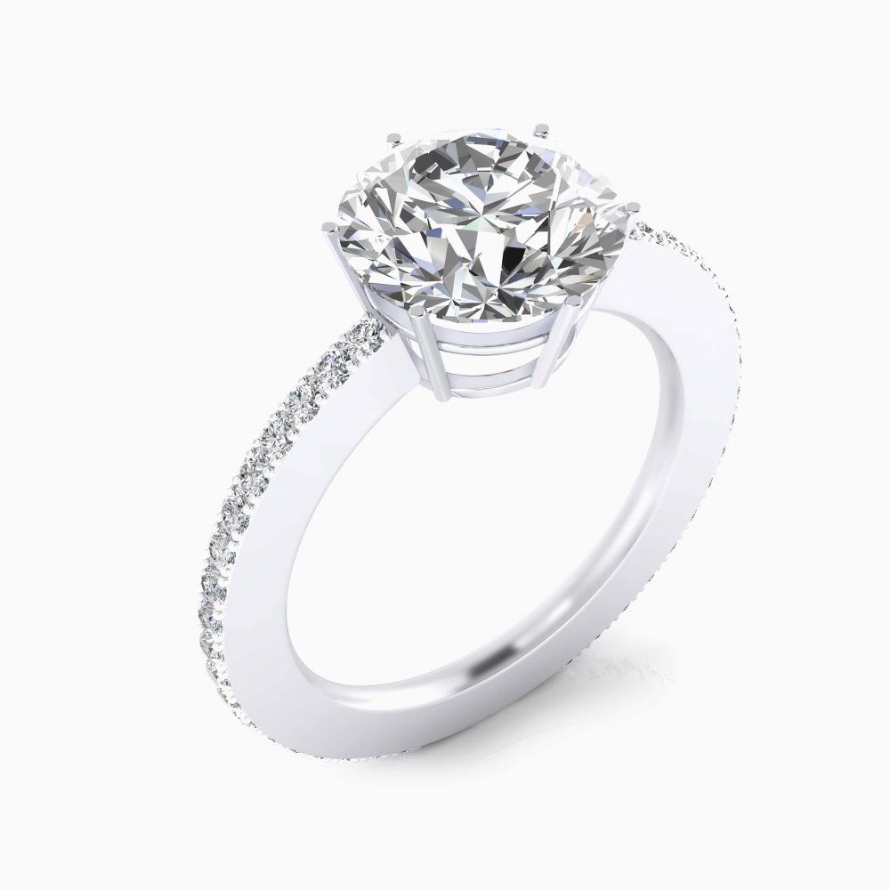White gold engagement ring, with 40 diamonds and a round cut shape diamond