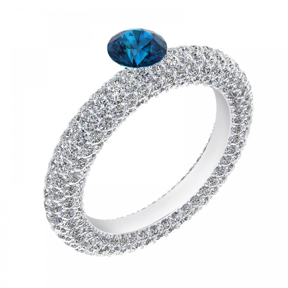 White gold engagement rings with 143 diamonds and a natural blue Sapphire