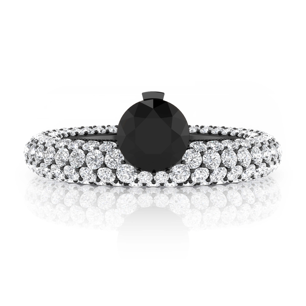 White gold engagement rings with 143 diamonds with black diamond