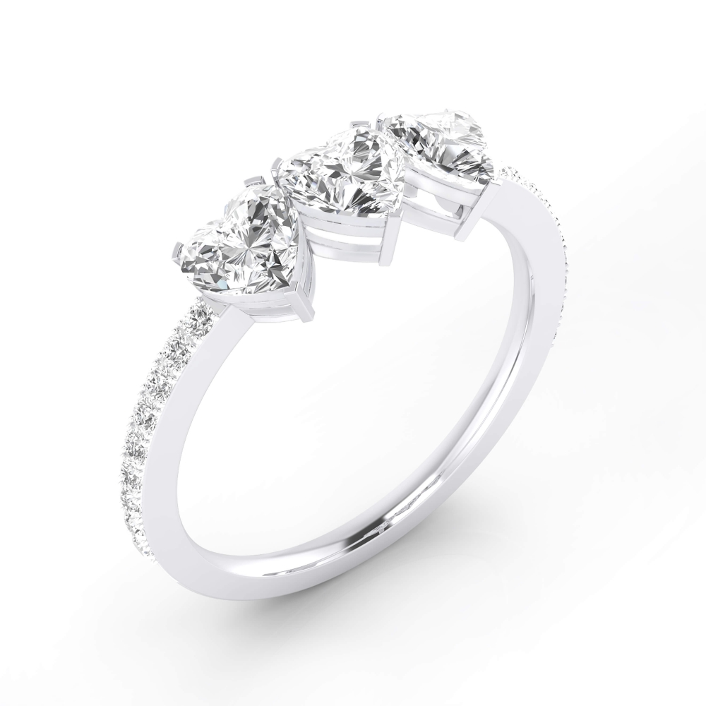 White gold engagement ring 18k with 3 heart cut shape diamonds