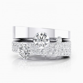 White gold Engagement Rings with 190 diamonds and 2 central diamonds