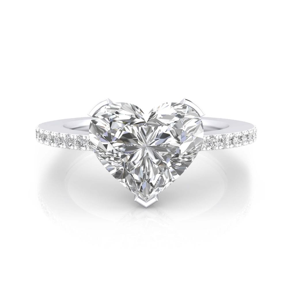anillo de pedida oro blanco y diamante talla Corazón