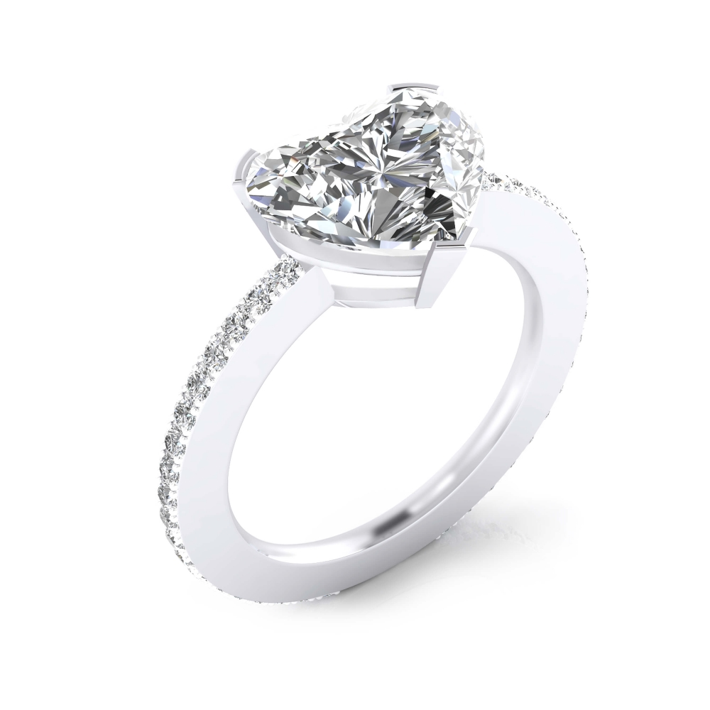 White gold engagement ring 40 diamonds heart cut shape diamond