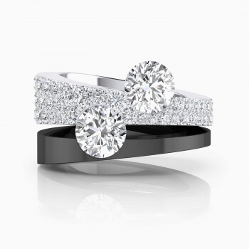 White gold Engagement Rings with diamonds and 2 central diamonds