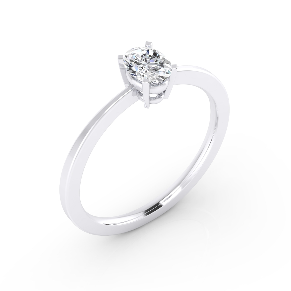 18kt white gold solitaire, with a oval-cut diamond.