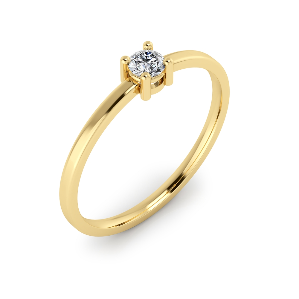 18kt yellow gold solitaire ring with a round cut shape diamond, stylized arms and glossy finish.