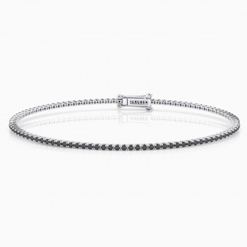 Black diamond bracelet, 18k white gold. (brilliant cut diamonds of 0,01ct)