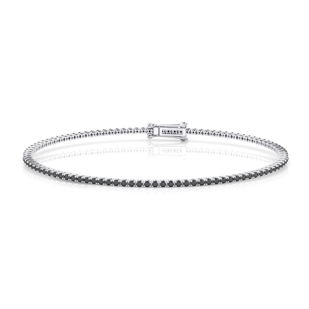 Black diamond bracelet, 18k white gold. (brilliant cut diamonds of 0,01ct)
