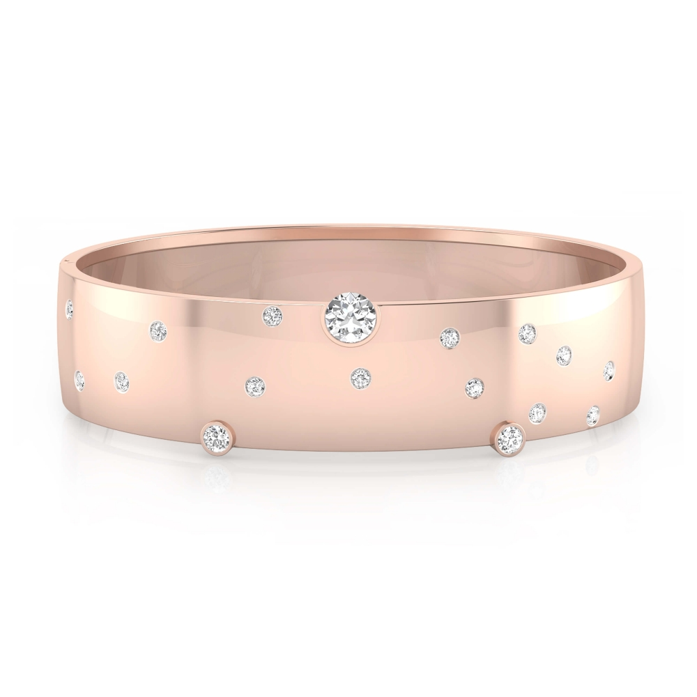 Bracelets 18k pink gold with 17 brilliant cut diamond