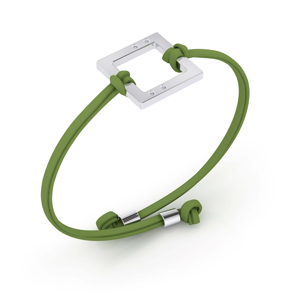 Silver bracelet with green leather cord and 4 diamonds.