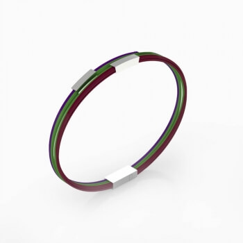Bracelets made of silver and steel wires of different colors