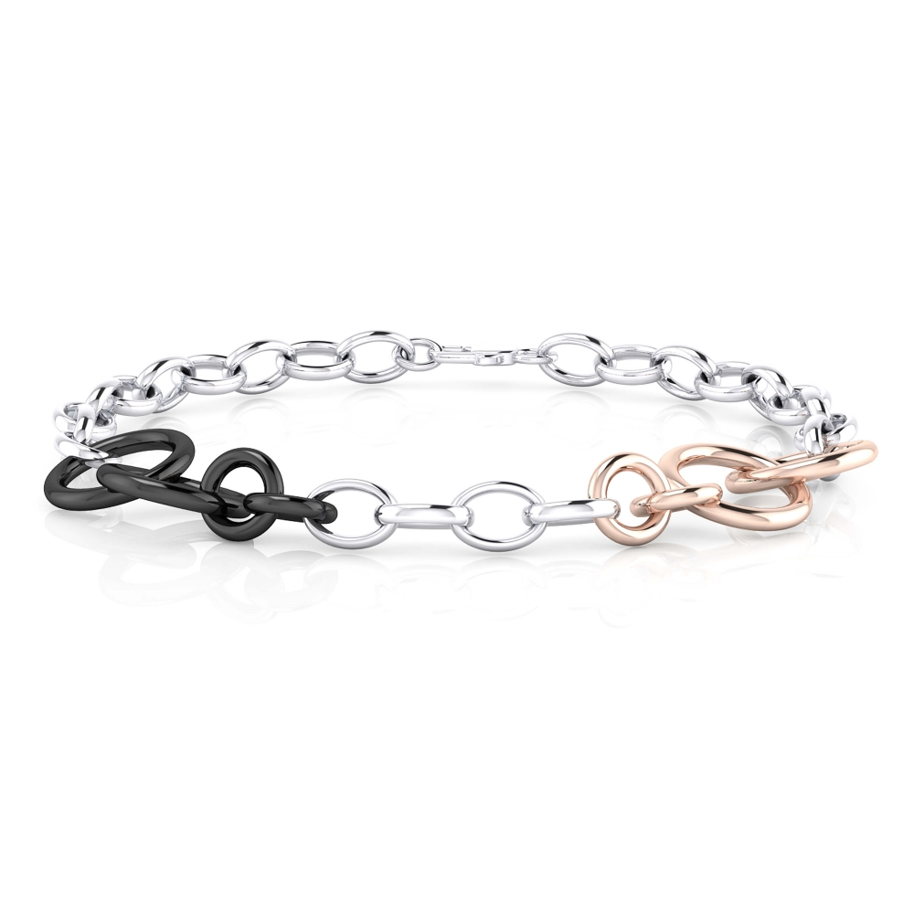 18 k white and pink gold bracelet rings.