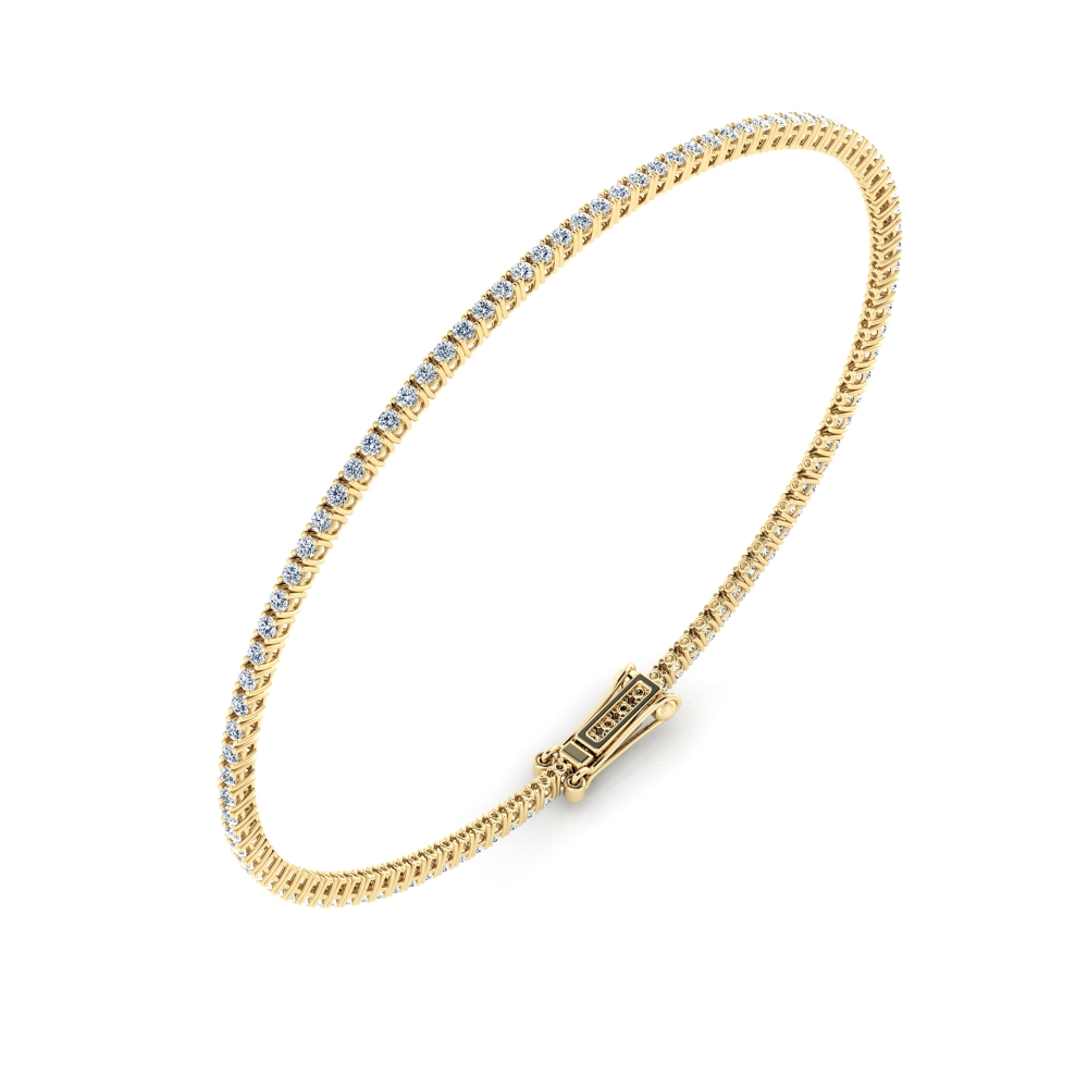Diamond bracelet, 18k yellow gold. (brilliant cut diamonds of 0,01ct)