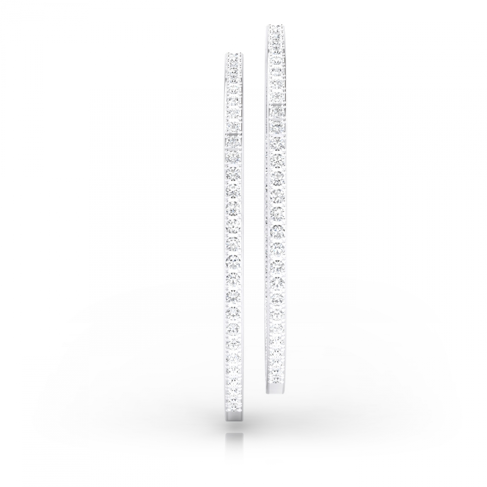 Diamond hoop earrings in 18k white gold