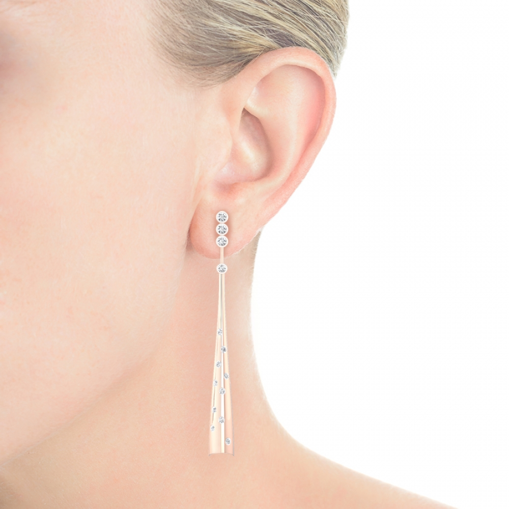 Earrings 18k pink gold with 28 diamonds