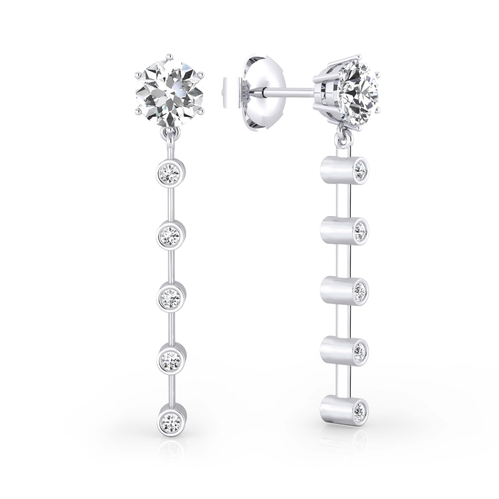 Earrings 18k white gold with 12 diamonds