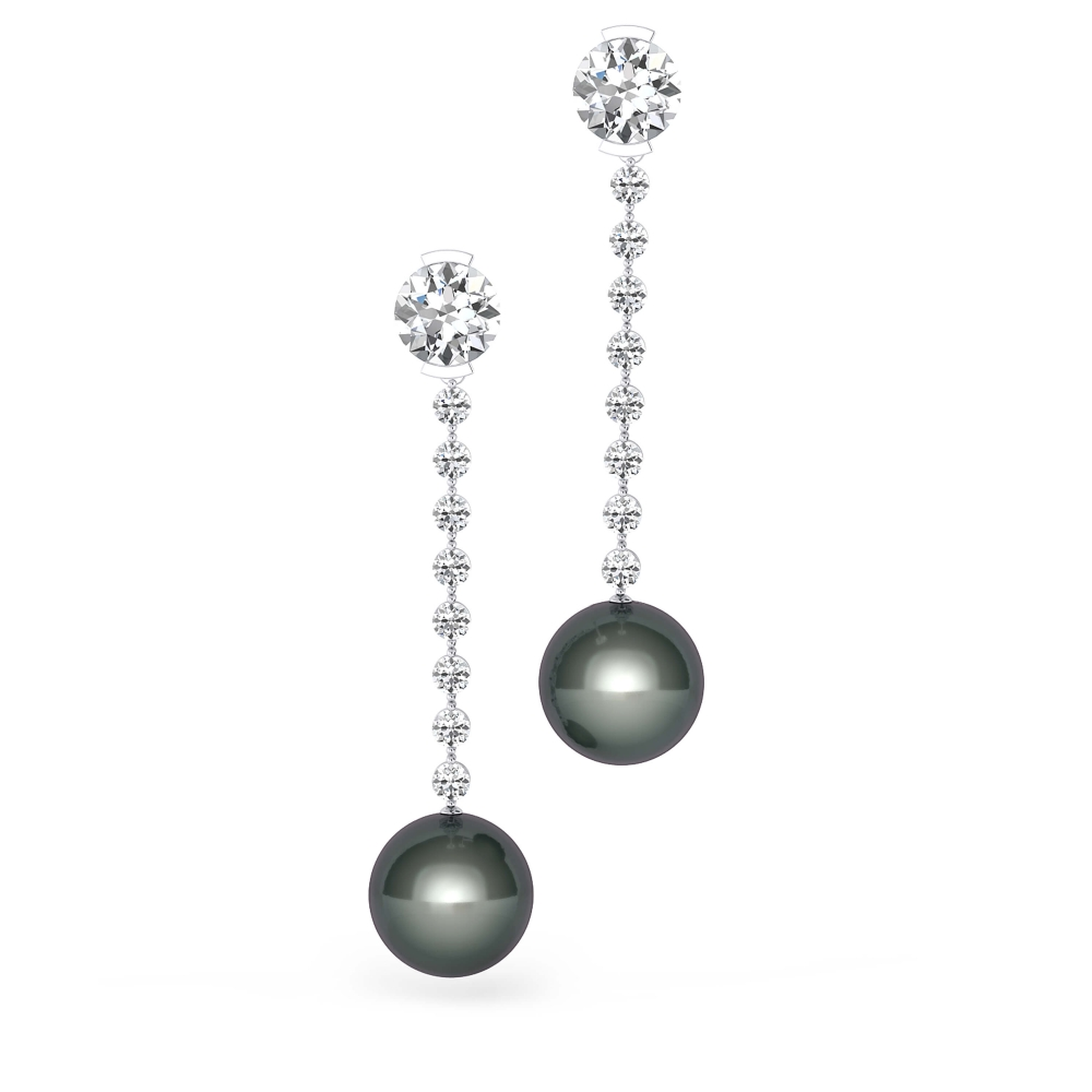 Earrings in 18k white gold with 2 brilliant cut diamond and pearls