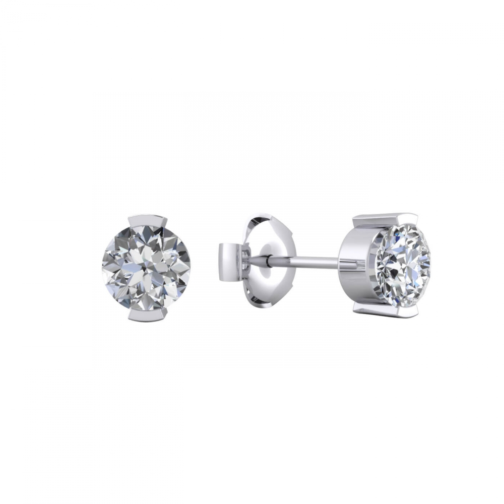 Earrings in 18k white gold with 2 brilliant cut diamond