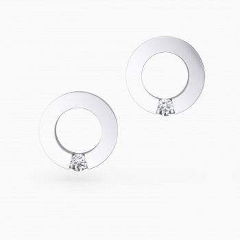 Earrings 18k white gold with 2 brilliant cut diamond