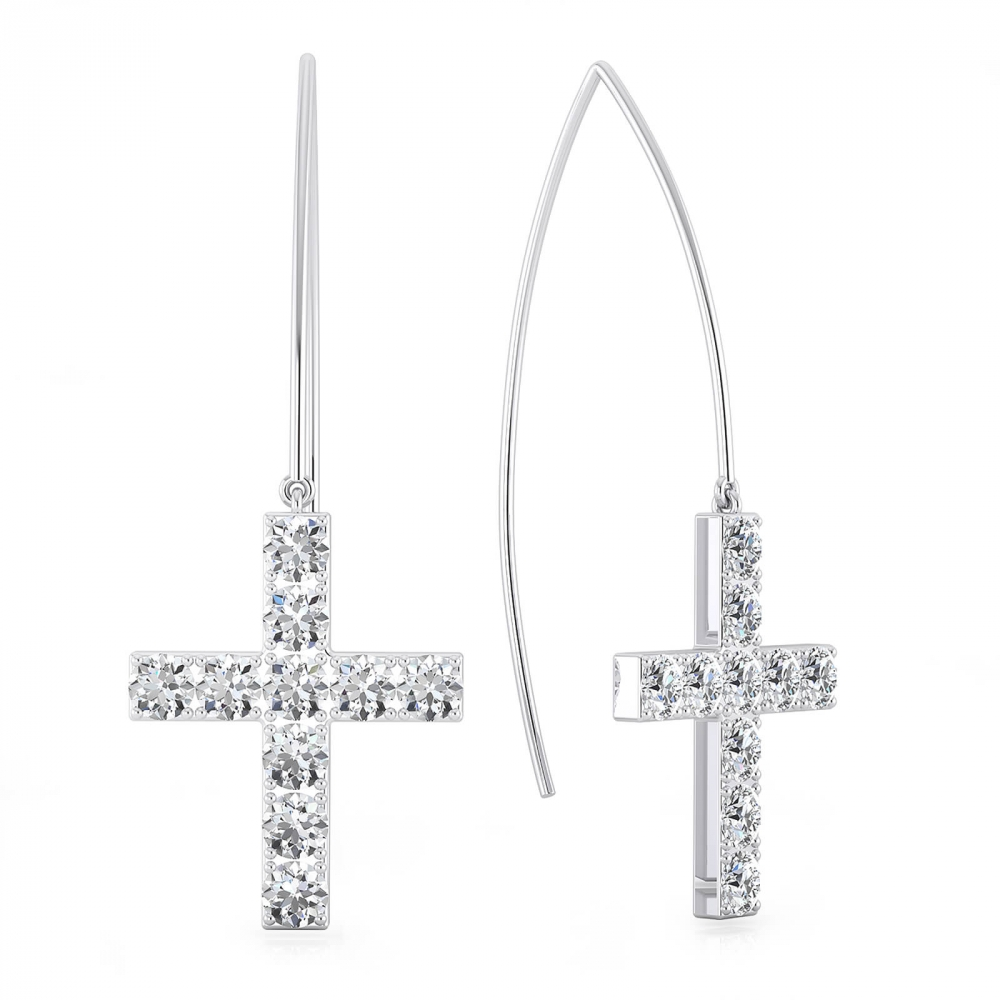 Earrings 18k white gold cross shape with 20 diamonds