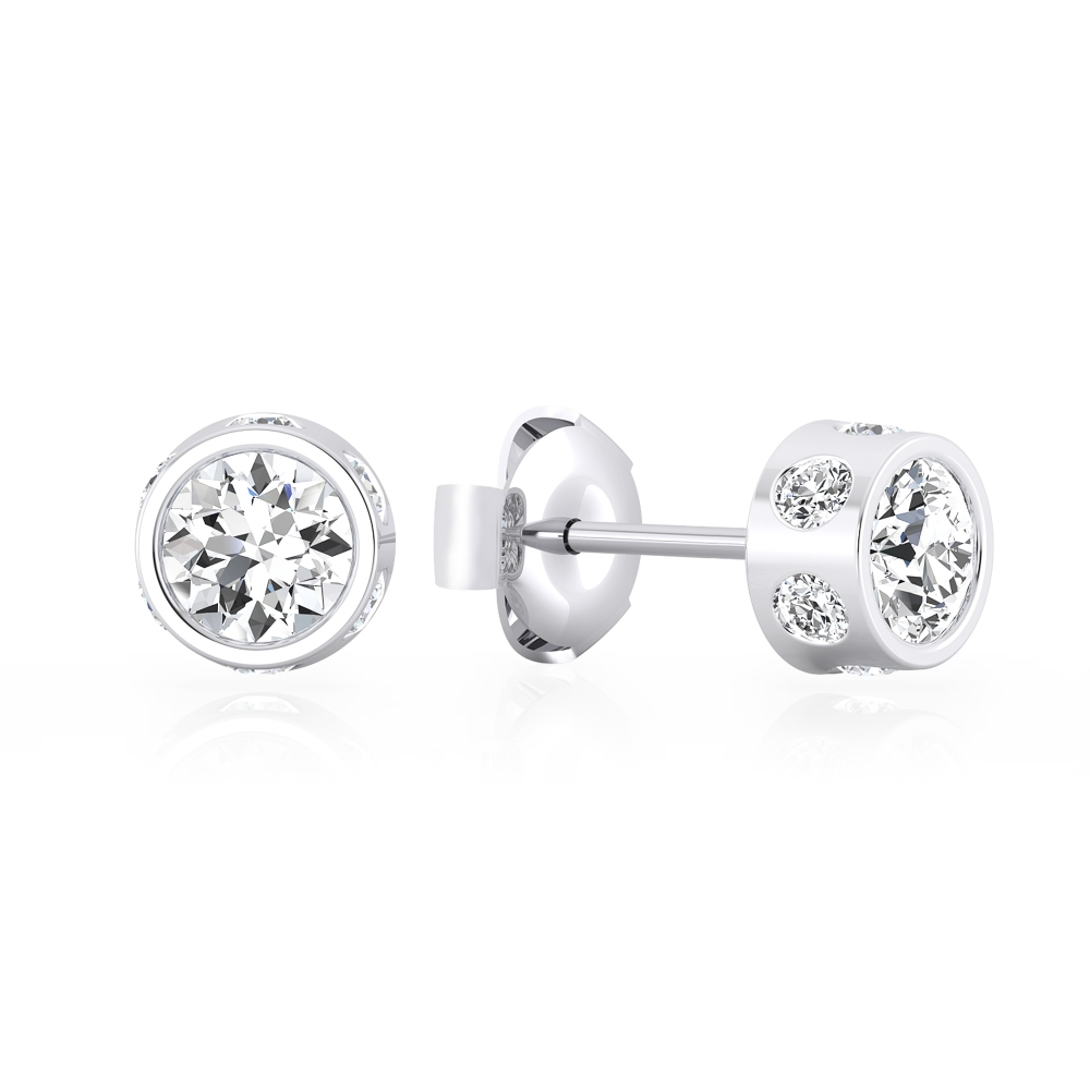 Earrings in 18k white gold With 14 brilliant cut diamond