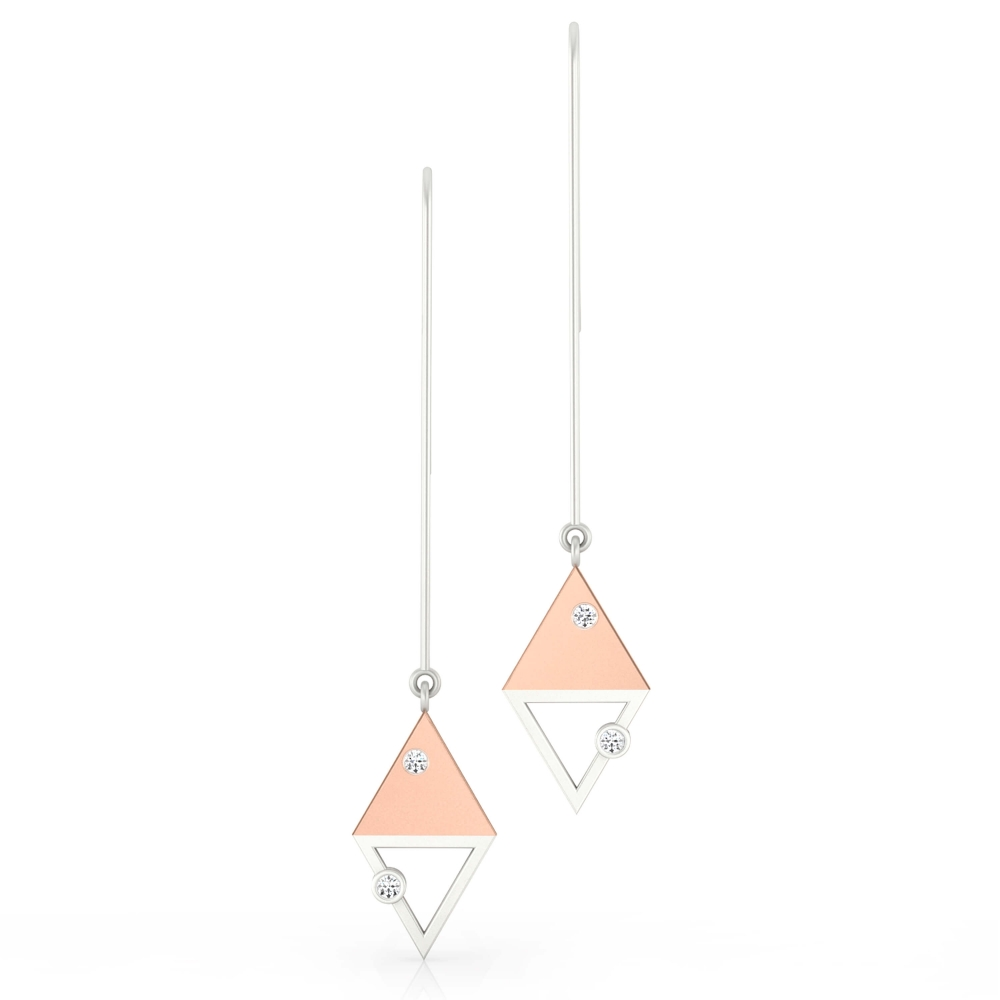 Earrings 18k white and red gold with 4 diamonds