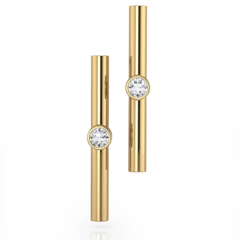Earrings 18k yellow gold with 2 diamonds