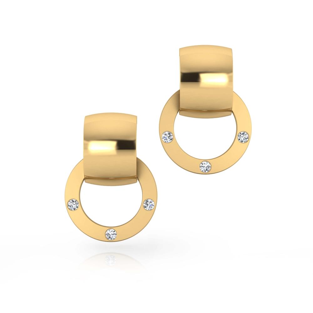 Earrings 18k yellow gold with 6 diamonds