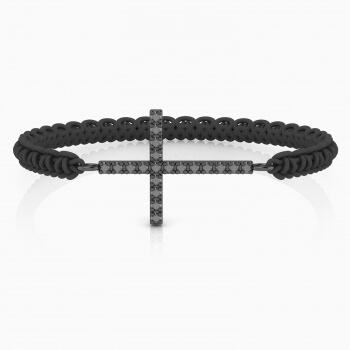 Bracelet in sterling silver with black diamonds