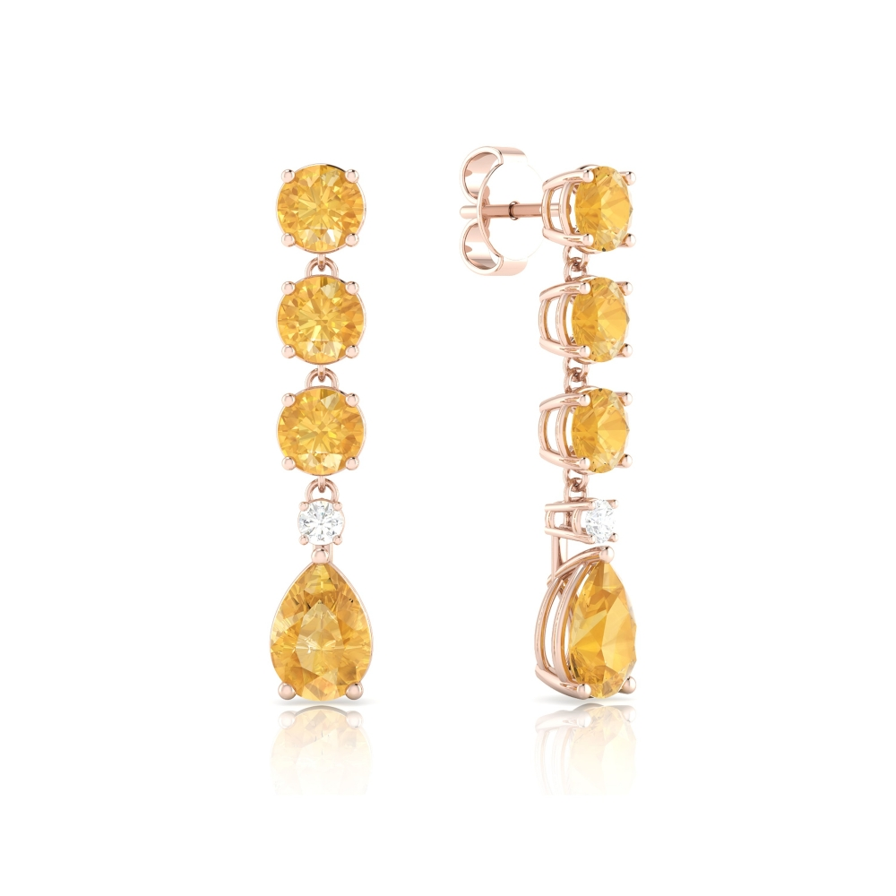 18k rose gold long earrings with Citrine Quartz and diamond