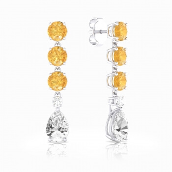 Long earrings in 18k gold with Citrine Quartz, white topaz and diamond