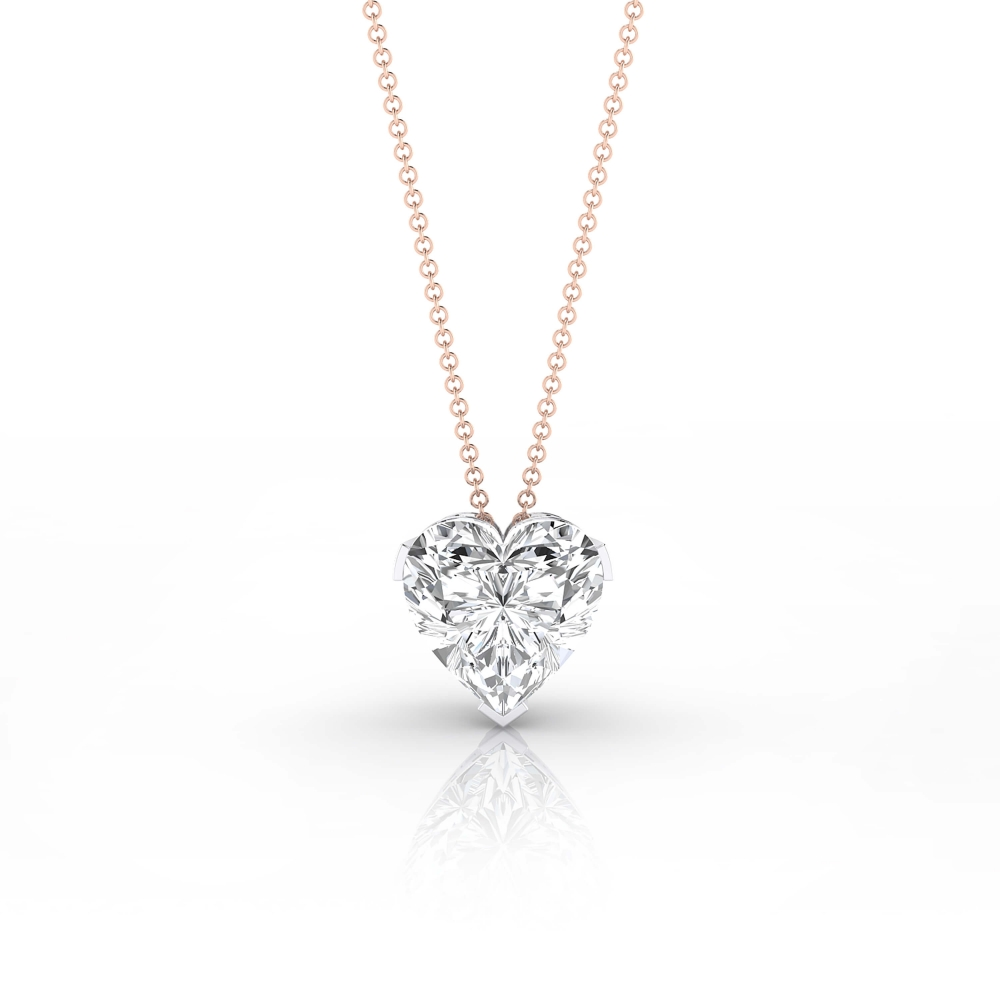 Necklaces 18k pink gold with heart-cut diamond