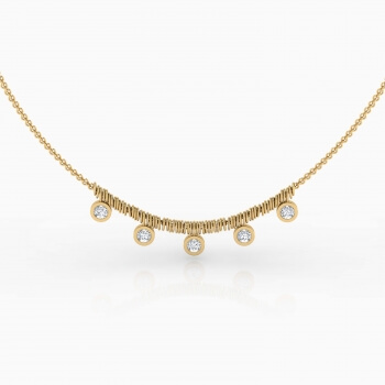 Necklaces 18k yellow gold with 5 diamond