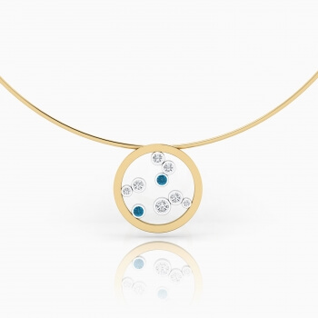 Necklaces 18k yellow gold with 7 diamonds