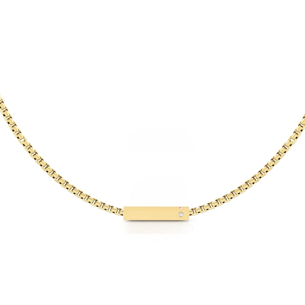 18k yellow gold necklace with 2 diamonds
