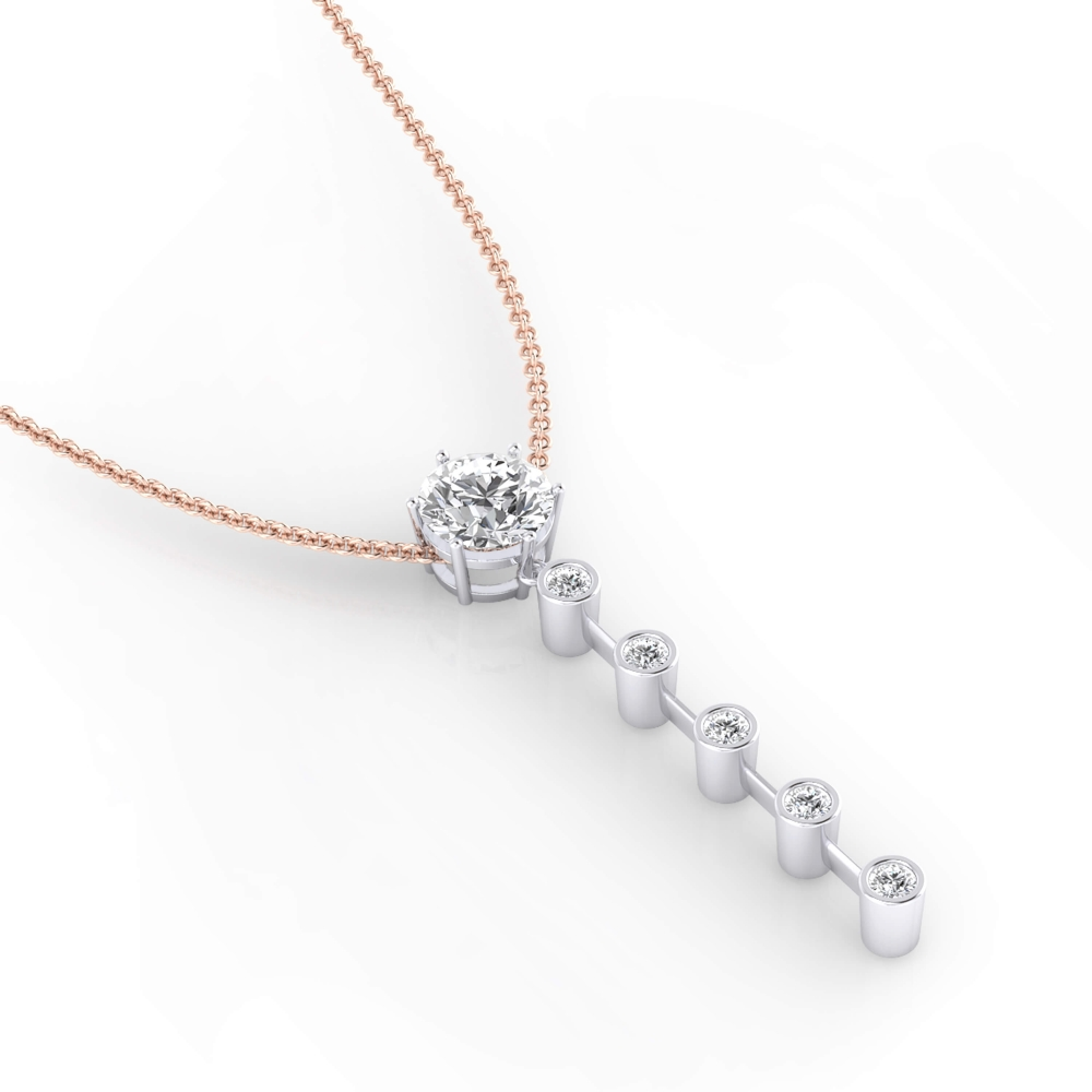 Necklaces with diamonds in 18k white gold