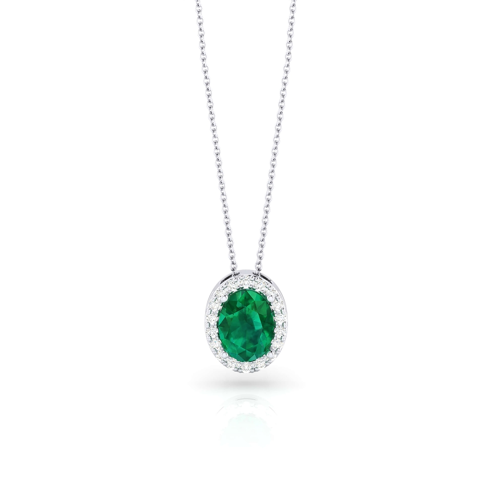 White gold pendant with emerald and diamonds