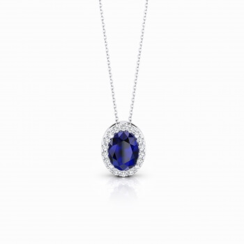 White gold pendant with sapphire and diamonds