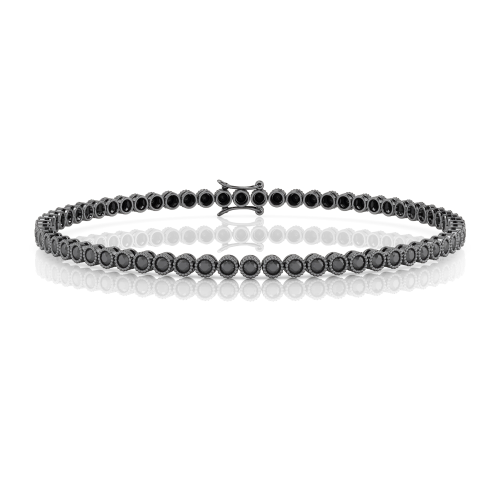 Sterling silver bracelet and black stones