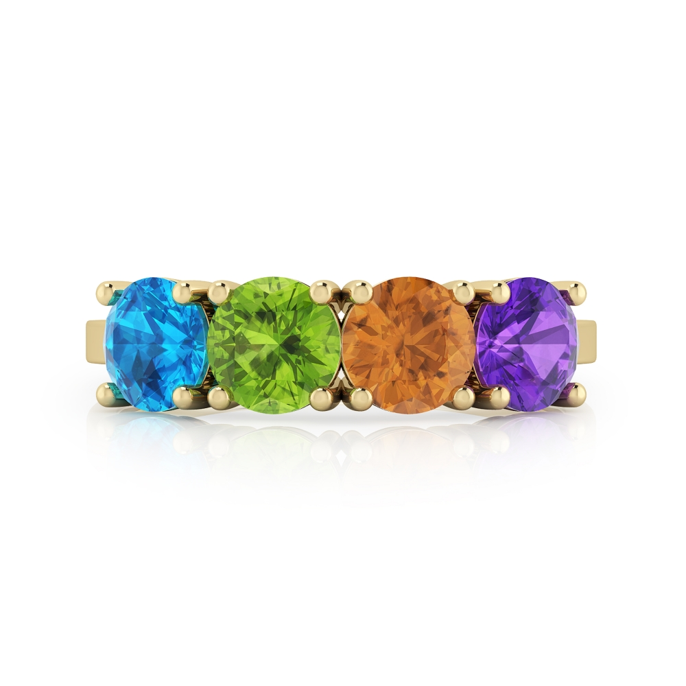Silver ring gold plated with gemstones